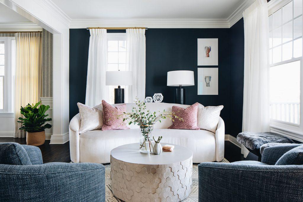wide shot of luxury living room remodel