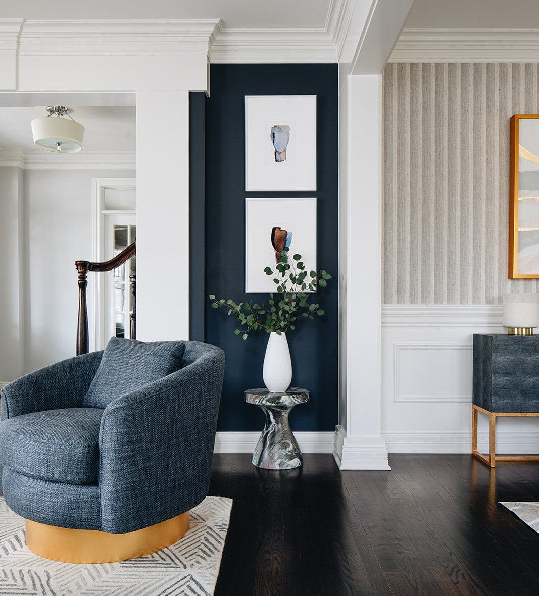 transition between living and dining room with wall art
