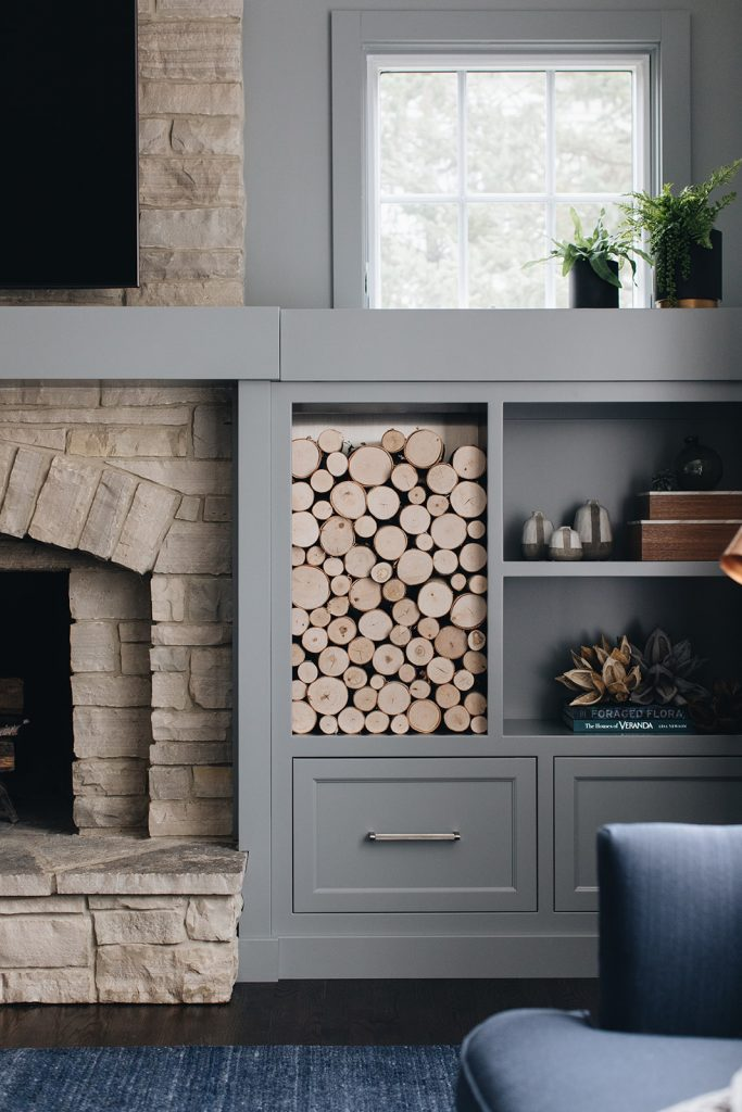 family room fireplace and shelving close up