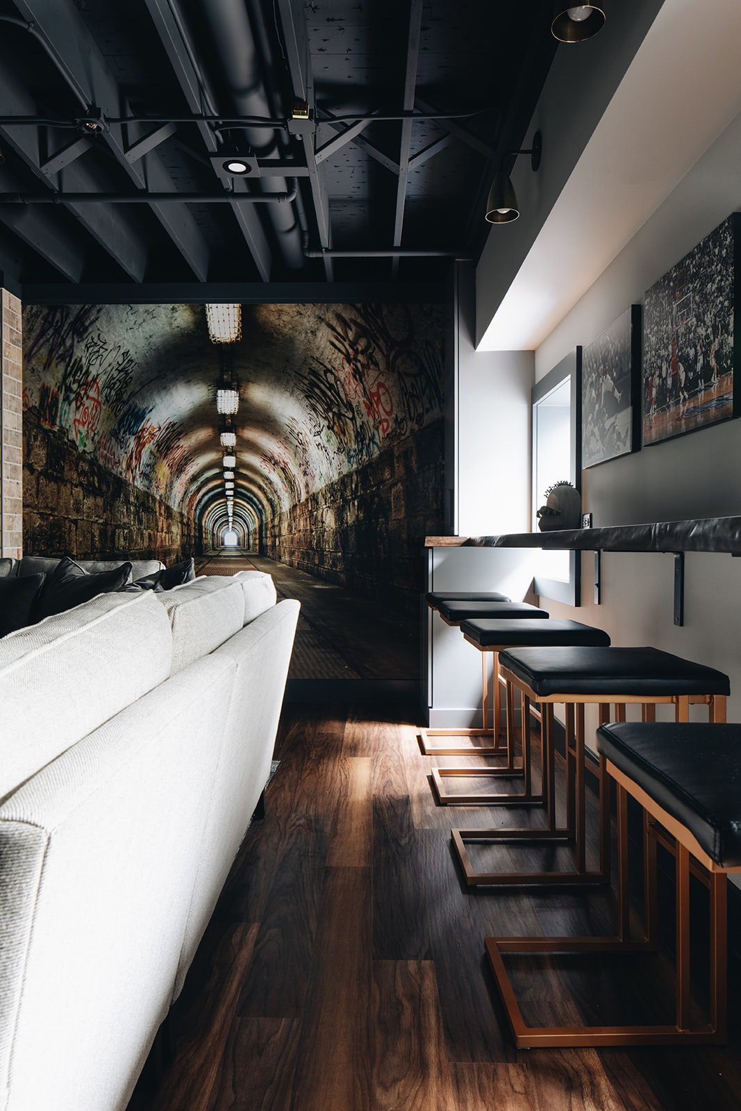 tunnel wall art and luxury bar stools
