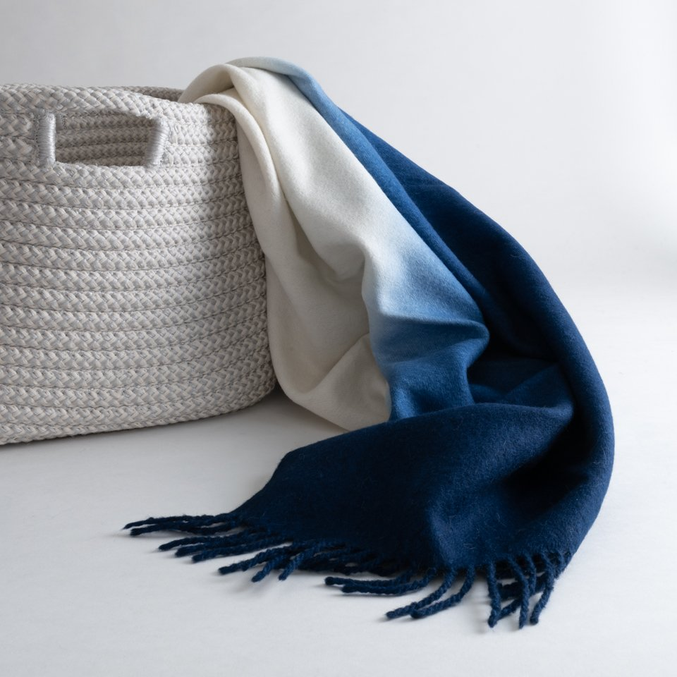 DIP-DYED THROW–INDIGO
